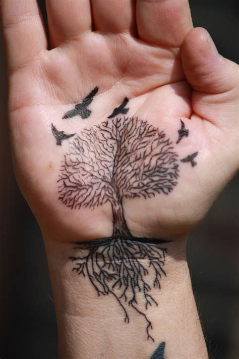 tree with roots tattoo black ink tree with roots and birds tattooimages biz