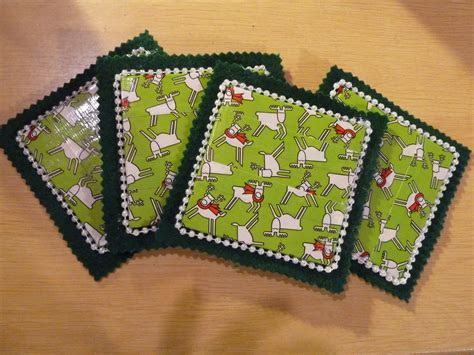 christmas pattern duct tape make it easy crafts christmas duct tape coasters