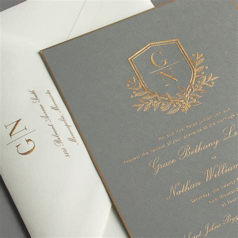 Engraved Wedding Invitations by Vera Wang Engraved Gold Bordered Light Grey Wedding