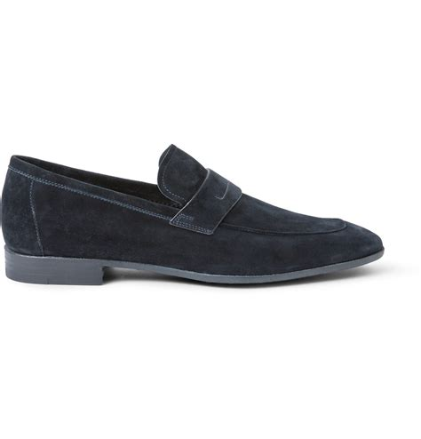 berluti loafers berluti lorenzo suede loafers in blue for lyst