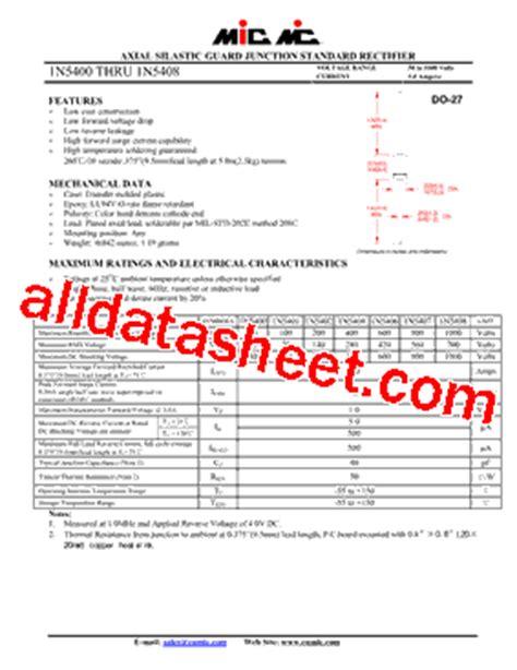 1n5408 diode datasheet 1n5408 datasheet pdf mic rectifiers