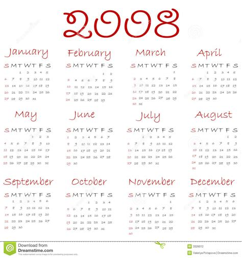 Calendario Z Calendar 2008 Stock Photography Image 3326012