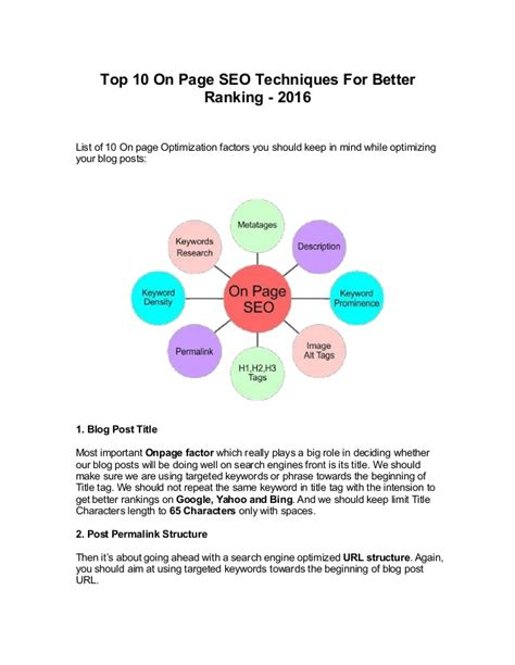 Seo Techniques 2016 by Top 10 On Page Seo Techniques For Better Ranking 2016