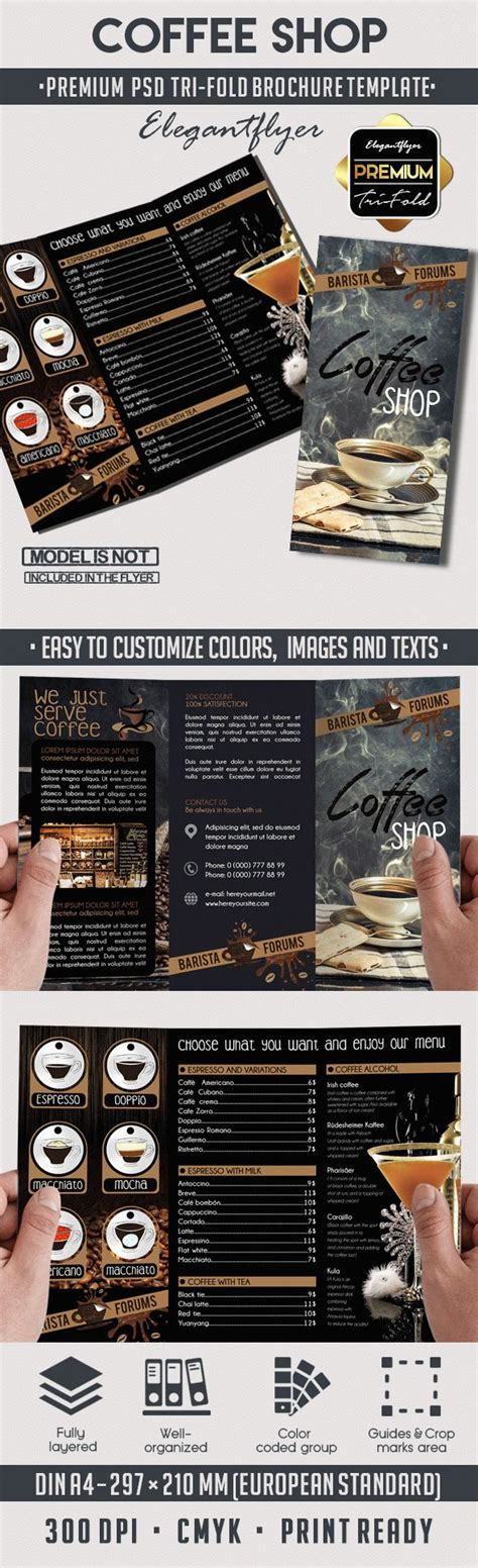 coffee shop brochure template coffee shop tri fold psd brochure template by elegantflyer