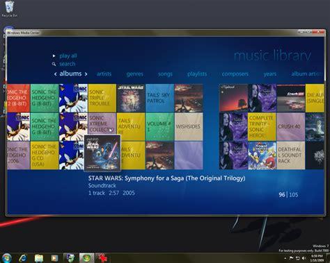 windows media center themes for windows 7 windows 7 beta windows media center music library