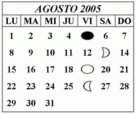 Calendario Agosto 2005 Efemerides Julio Agosto 2005