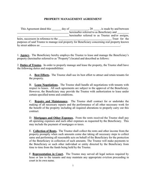 Property Management Contract Template Invitation Template Management Agreement Template