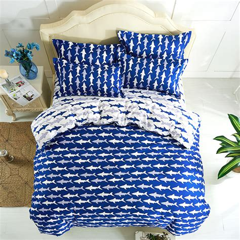 ocean shark print duvet cover queen twin size 4pc bed