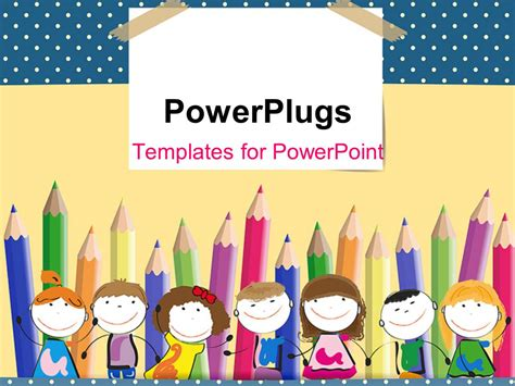 Powerpoint Template Colorful Crayons In Background With Happy Kids Lined Up 2618 Powerpoint Templates For Children