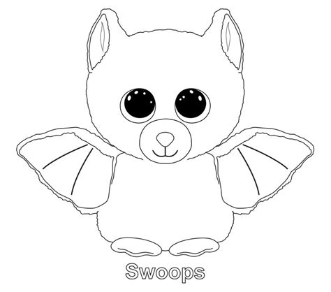 beanie babies coloring page swoops the bat ty beanie boo ty beanie boos pinterest