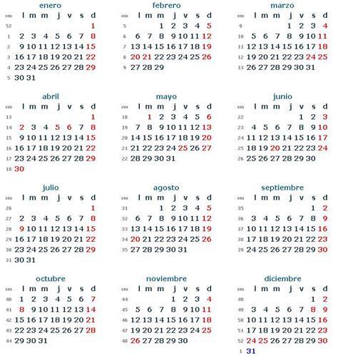 El Fin Calendario 2012 Findes Largos