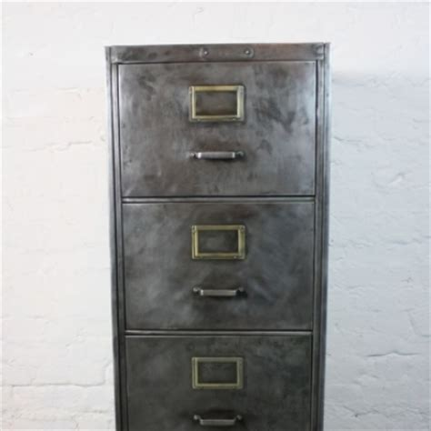 mid century polished steel filing cabinet made by milner