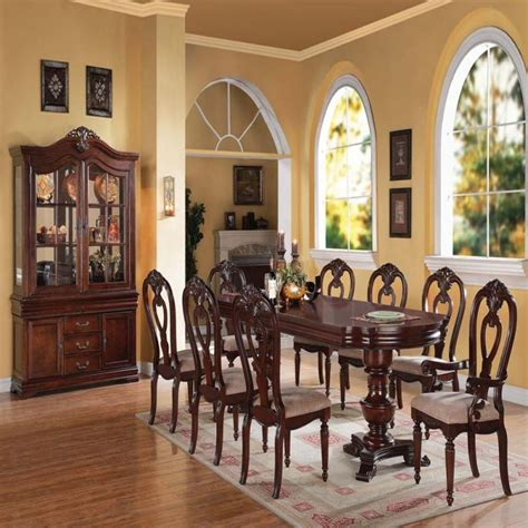 9pc dining room set formal modern carved classic chairs dining room table 9pc
