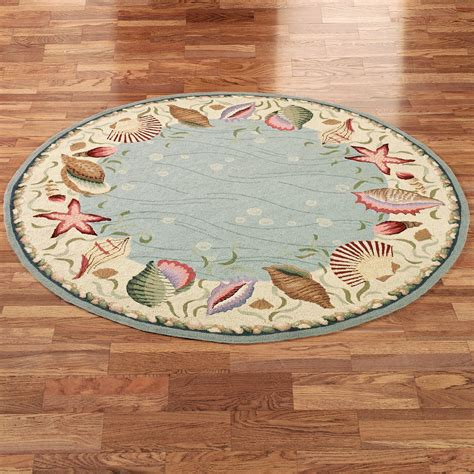 seashell rugs bathroom ocean surprise coastal seashell round rug