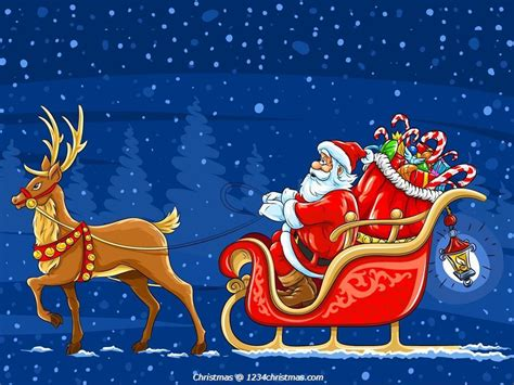 santa claus reindeer wallpaper download santa flying