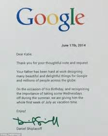 Thank You Letter Father Figure google worker s daughter sends letter asking his boss for