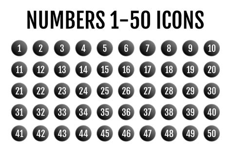 numbers 1 50 icons icons creative market