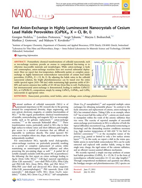Cl Ro Besar Besar 2 5 X 2 5 fast anion exchange in highly luminescent nanocrystals of cesium lead halide perovskites cspbx3