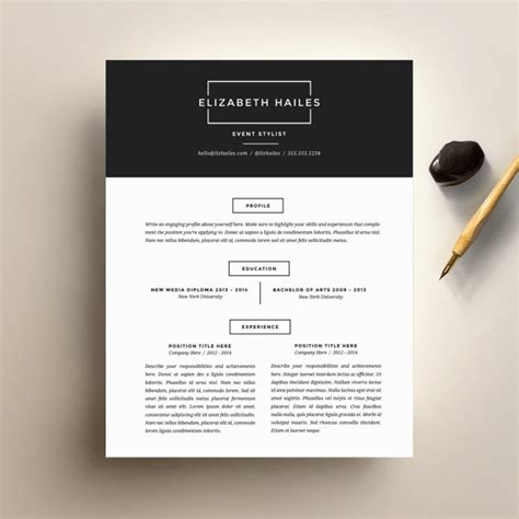 Resume Templates Minimalist Resume Template And Cover Letter Template For By Suitedbrandlab