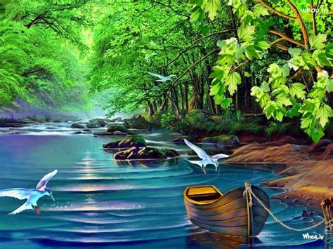 wallpaper permandangan cantik natural flying bird hand painting wallpaper