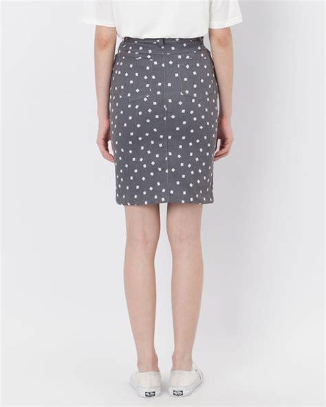 grey printed denim skirt matrix