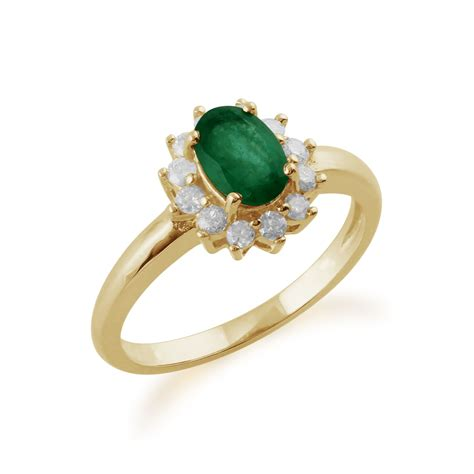 9ct yellow gold 0 83ct emerald oval cluster ring