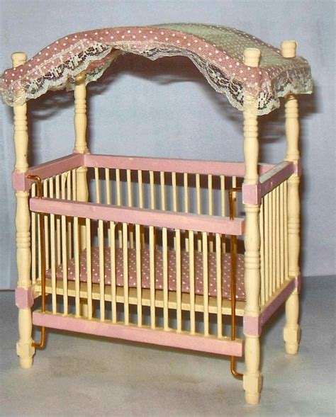dollhouse nursery nursery canopy crib dollhouse furniture miniatures ebay