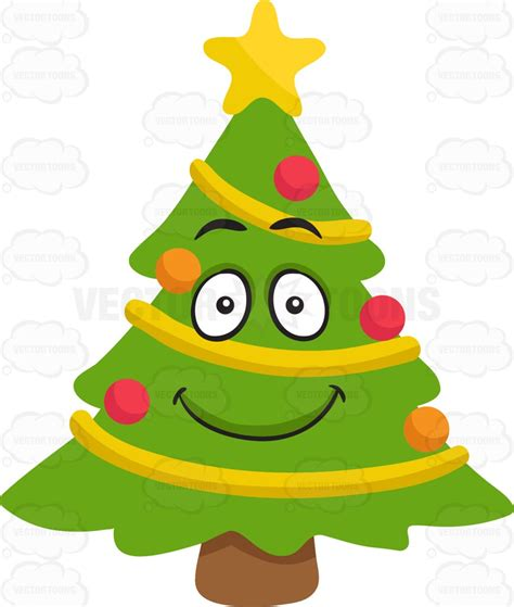 emoji xmas tree a smiling christmas tree cartoon clipart vector toons