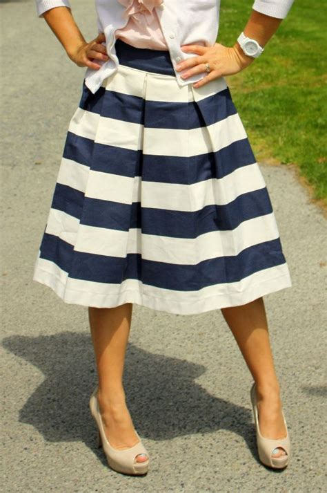 navy blue awning striped skirt