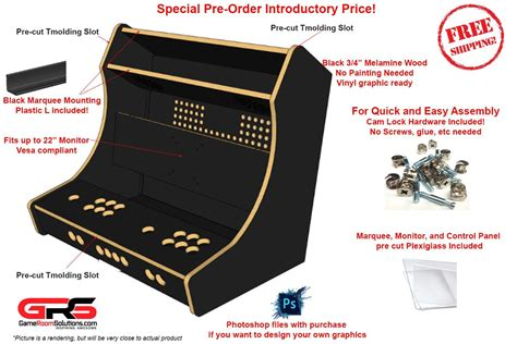 bartop arcade kit deluxe lock graphics kit