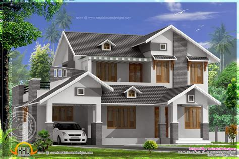 types of building plans home design 2367 square feet sloping roof home kerala home design