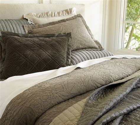 pottery barn coverlet rustic luxe bedding brownstone pottery barn