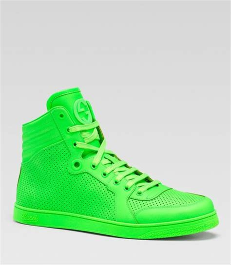 neon green gucci sneakers gucci coda neon leather hightop sneakers in green for