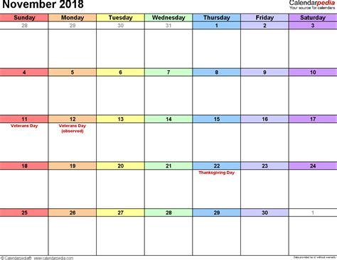 November Calendar Template by November 2018 Calendar Template Monthly Calendar 2017