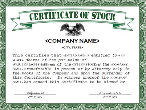 certificate of ownership template certificate of ownership sample