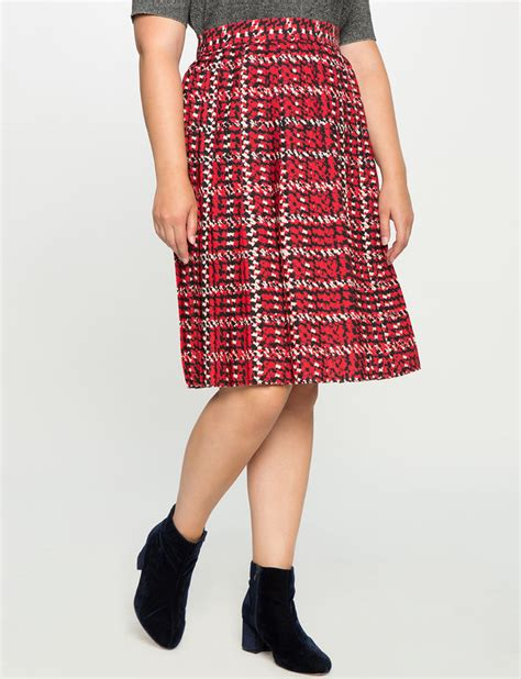 Houndstooth Pleated Skirt pleated houndstooth skirt s plus size skirts eloquii