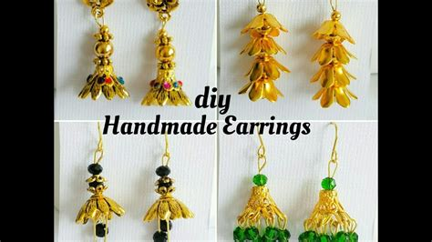 how to make bead earrings at home how to make simple earrings with bead caps easy