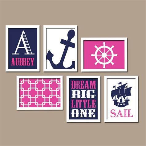 Pink And Navy Nursery Decor Pink Navy Blue Nautical Sail Sea Anchor Big Custom Name Set Of 6 Prints Wall Gallery