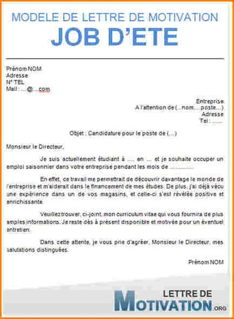 Exemple De Lettre De Motivation Mcdonald Etudiant 9 Lettre De Motivation Travail D 233 T 233 Curriculum Vitae Etudiant
