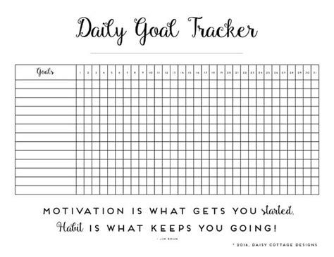 Daily Habit Tracker A Printable Goal Tracker Daisy Cottage Designs Goal Tracker Template
