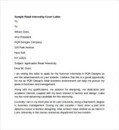 sles of cover letters for internships sle retail cover letter template 9 free