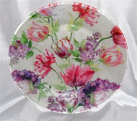 Decoupage Plate - tulip plate tulip bouquet decorative decoupage by