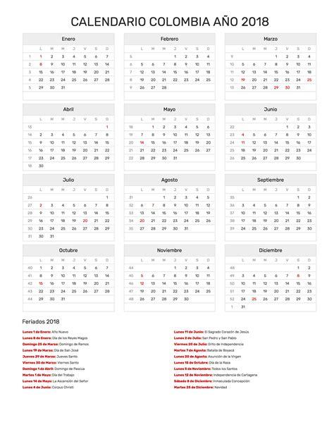 Calendario 2018 De Colombia Calendario Colombia A 241 O 2018 Feriados