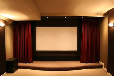 home theater drapes recessed curtains to protect screen home theatre design