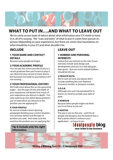 what to include in a cv writing a winning tech cv
