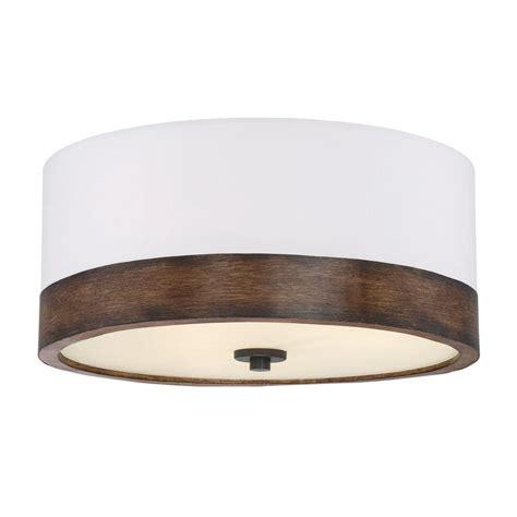 wood flush mount light filament design 3 light walnut wood flushmount cli