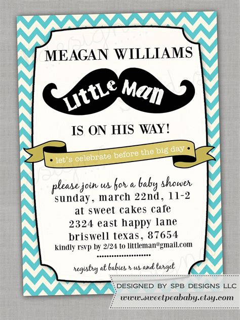 little man baby shower invitation templates cool
