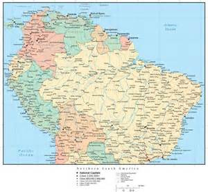northern south america map with countries cities and