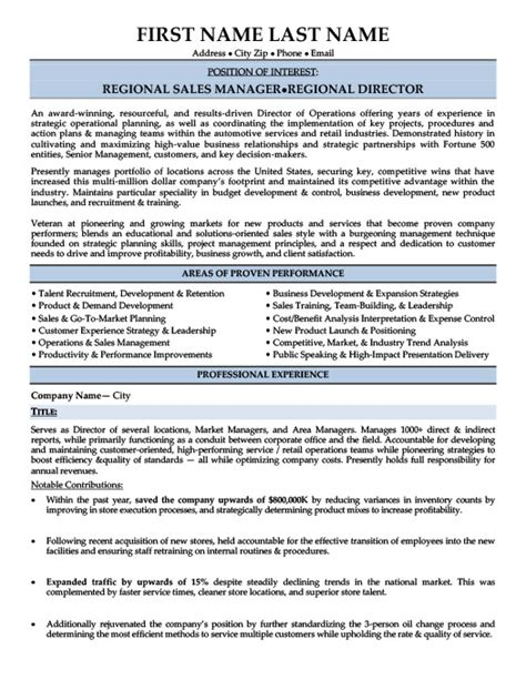 Resume Sles For Area Sales Manager Regional Sales Manager Resume Berathen