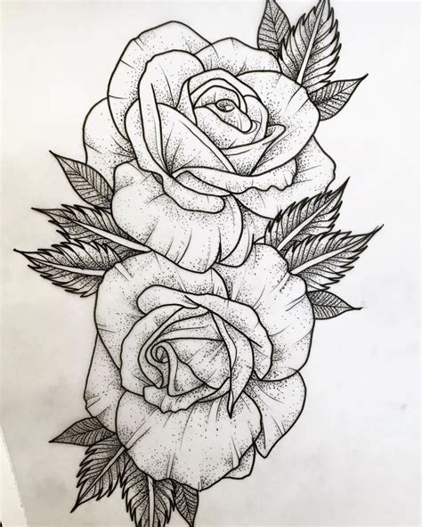 rose dotwork tattoo best 25 outline drawing ideas on